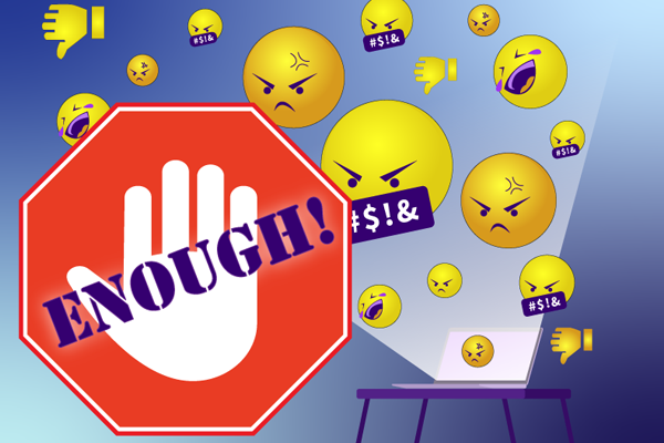 angry emojis with large stop sign and hand up saying enough